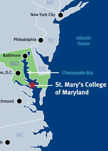 Map of Maryland showing St. Mary's