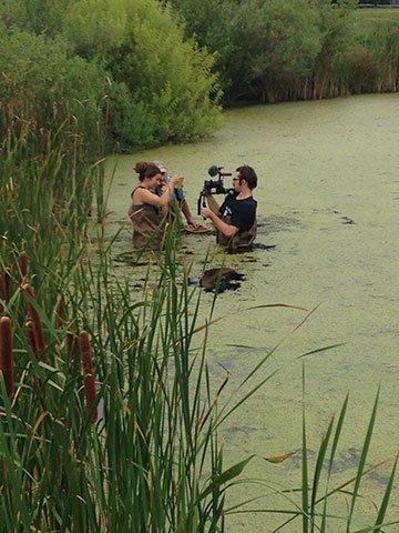 Kevin Glotfelty '19, Shooting video in St. John's Pond at SMCM