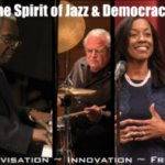 multiple images of performers and lecturers with the words the spirit of jazz and democracy