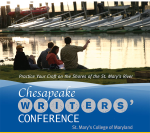 """People sitting, backs turned, on the shores of the St. Mary's River with the text, """"Practice Your Craft on the Shores of the St. Mary's River - Chesapeake Writers' Conference St. Mary's College of Maryland"""""""