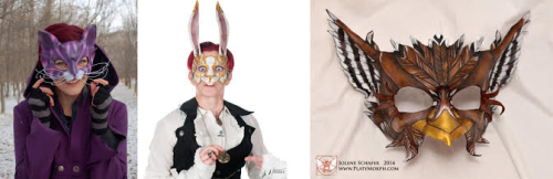 Three images: One features a person wearing a purple cat mask, one features a person wearing a gold rabbit mask, and the last features a leather bird mask with a white background