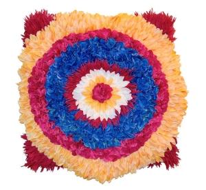 Colorful faux-flower artwork in a circular design