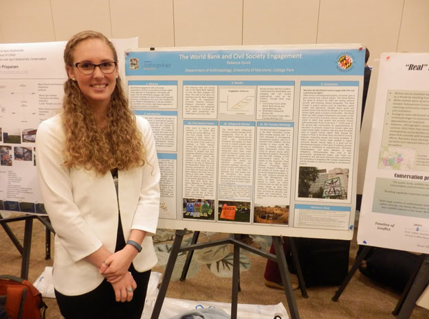 SMCM alumna Rebecca Quick ('13) presents her poster on the topic of Anthropology and Human Rights.  Becca completes her Masters in Applied Anthropology from the University of Maryland this year.