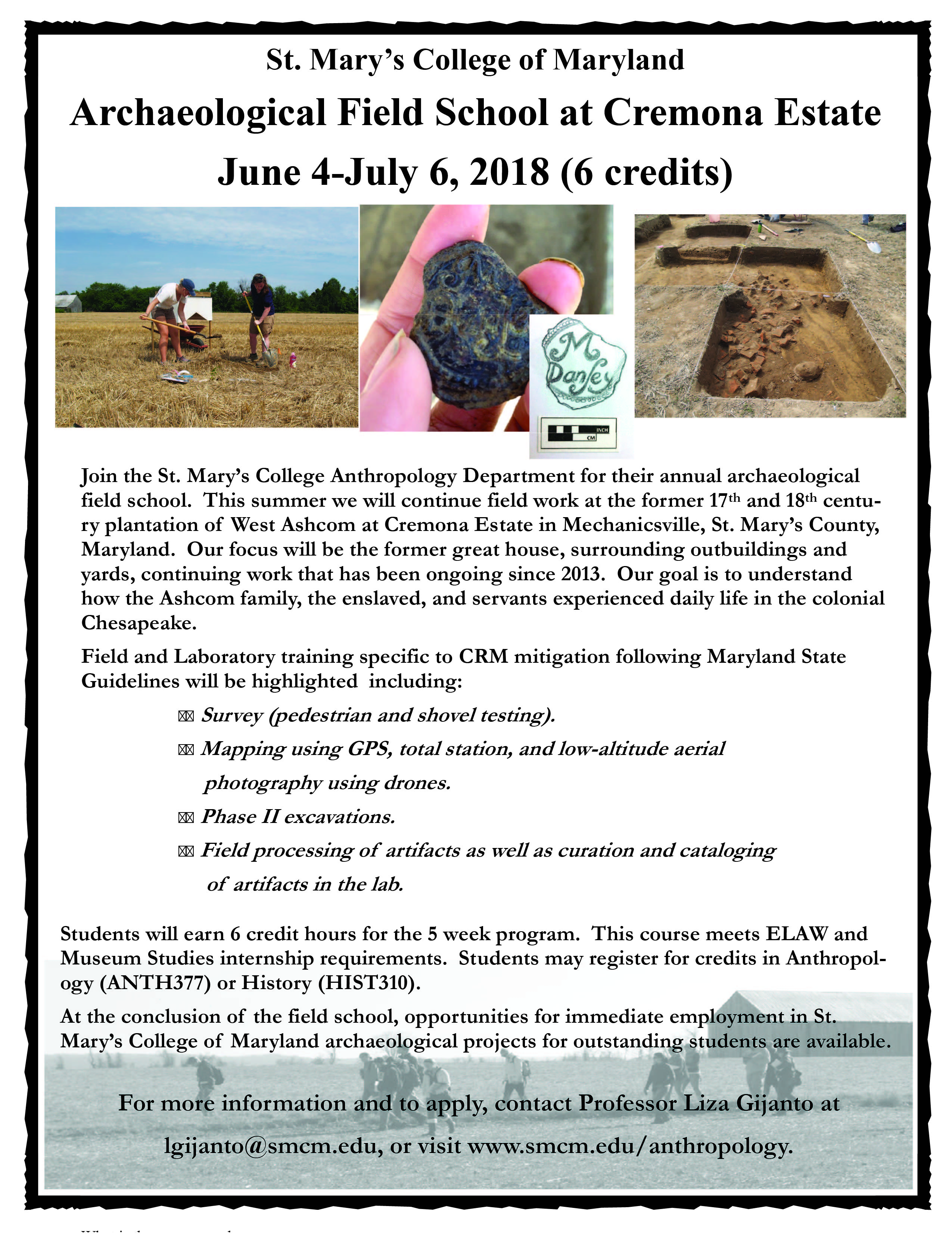 Archaeological Field School at Cremona Estate 2018 flyer