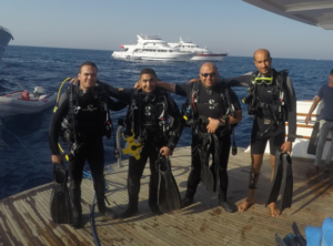The Maritime Archaeology in Department of Archaeology and Greco-Roman Studies, Alexandria University group posing in scuba gear