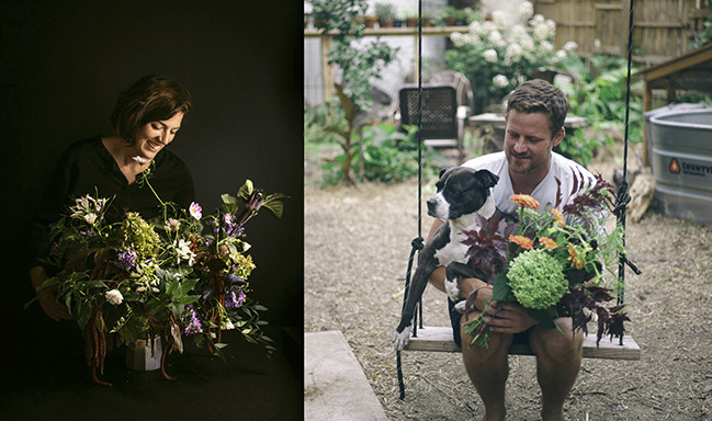 Erica Maust and Andrew Olsen creating floral arrangements