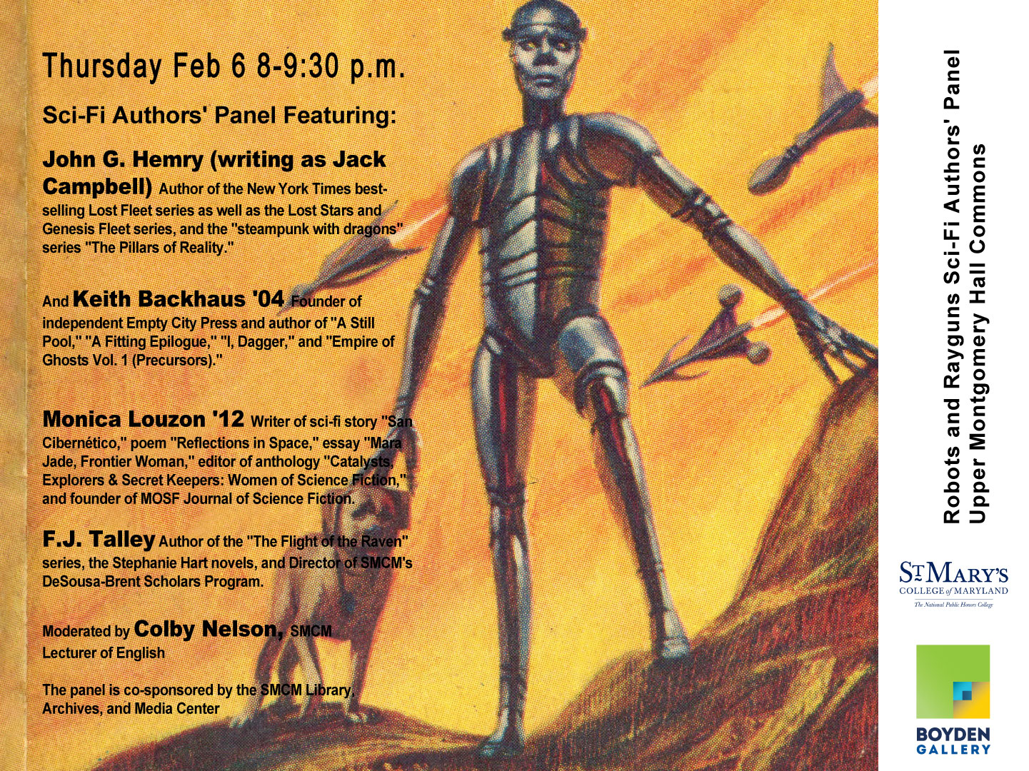 SMCM Robots and Rayguns Sci-Fi Authors' Panel Thursday Feb 6 2020