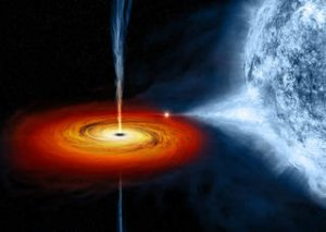 A black hole pulls matter from the star beside it in this artist's image. Credits: NASA/CXC/M.Weiss
