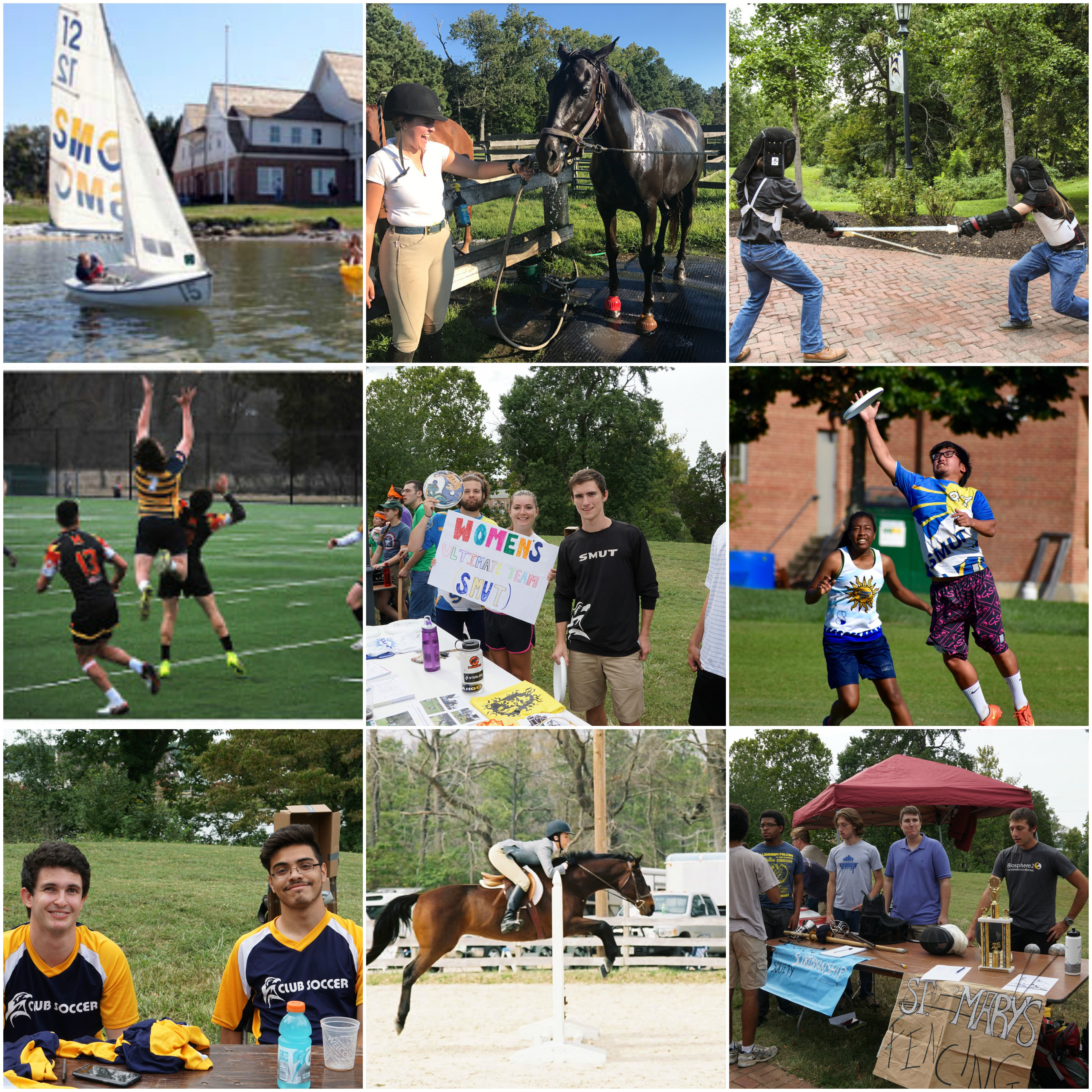 Collage of 9 square images representing some of the different club sports. Sailboat on the St. mary's river, Student riding a horse jumping over an obstacle, two students practicing fencing, male rugby player jumping in the air against his two opponents, students at club fair advertising the women's SMUT team, students playing Ultimate Frisbee, students at club fair looking for signups for men's club soccer, another student jumping with a horse for equestrian club, signup for fencing club.
