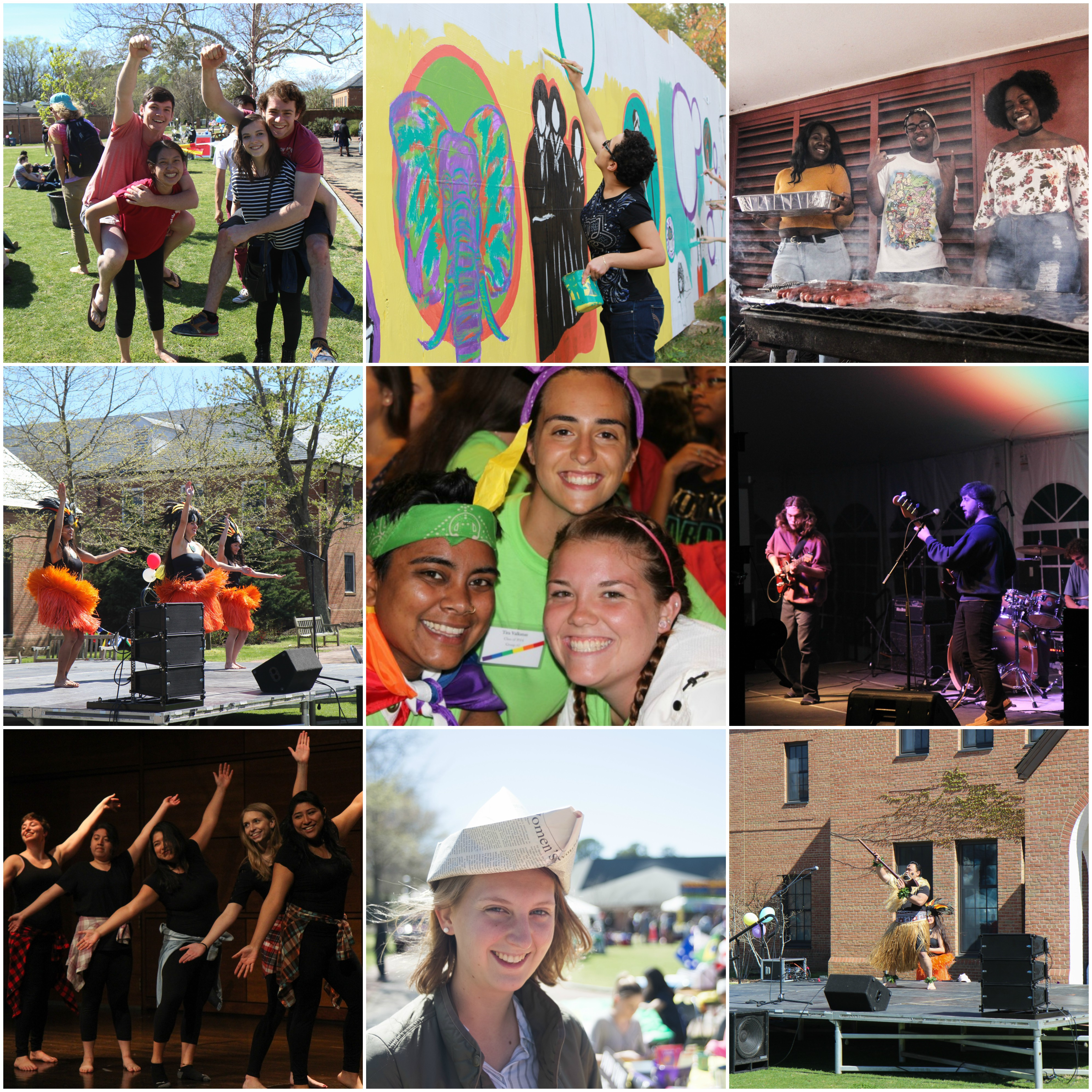 Collage of 9 square photos representing some of the multicultural clubs on campus. Images include students riding on the backs of other students, students painting on a wall, several students cooking, students dancing, students smiling, students playing instruments, students abroad, and students performing in a play.