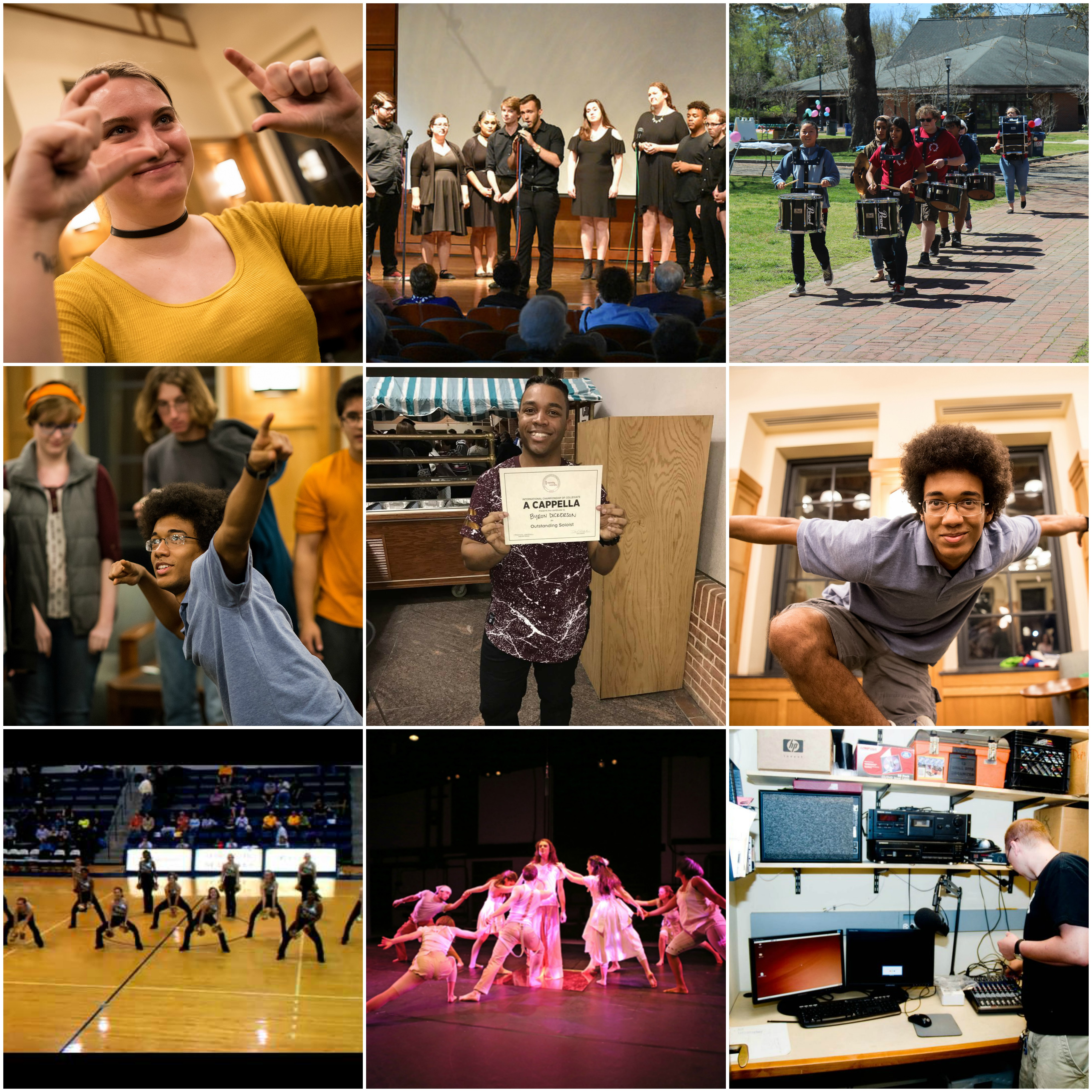 Collage of 9 square photos representing some of the performance clubs on campus. Images include: students pretending to take a picture, groups of students singing, drum band students, students performing in a group, a student holding an Acappella certificate, students dancing during ahalf time basketball game, and students working on computers.