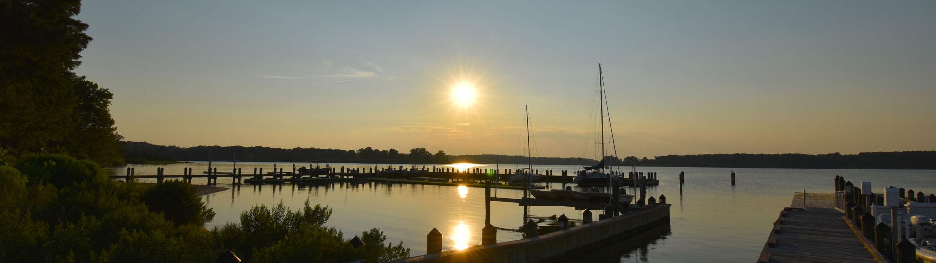 SMCM riverfront at sunset