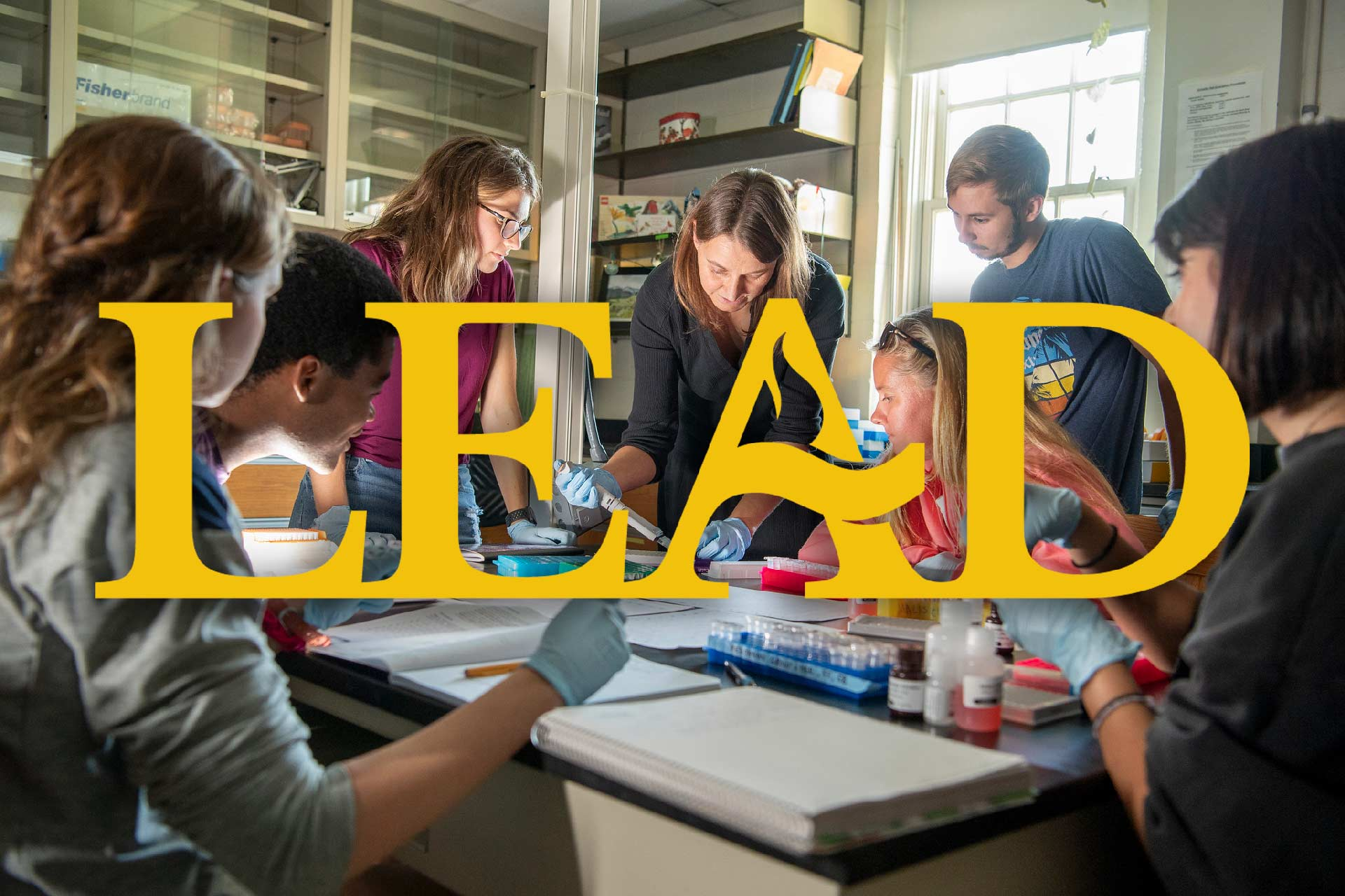 LEAD logo overlay over SMCM lab photo