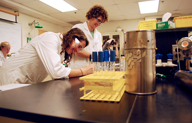 2 student Chemists performing an experiment.