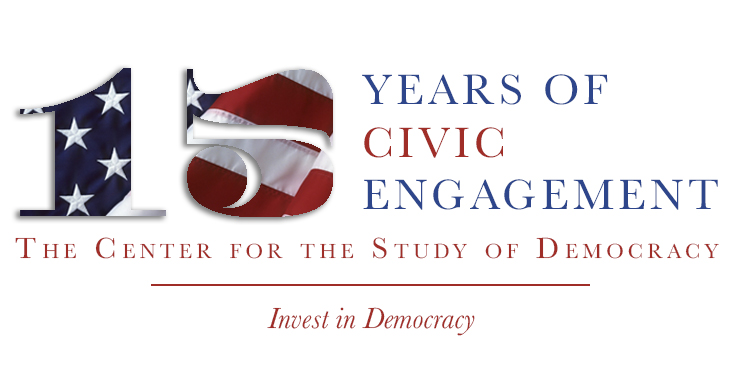 A banner celebrating 15 years of civil engagement at the center for the study of Democracy