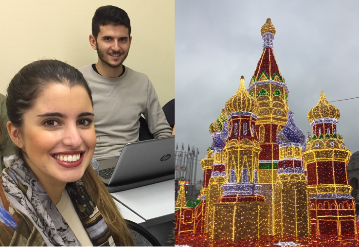 two images combined into one with smcm teachers smiling at the camera on one side and an image of a Russian building on the other