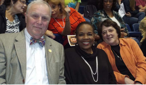Betty Currie is flanked by G. Thomas Daugherty, member of the Board of Directors of St. Mary's College of Maryland Foundation and Helen Ginn Daugherty, Professor of Sociology at SMCM and Co-Director of the Economic Inequality Program of the Center for the Study of Democracy.