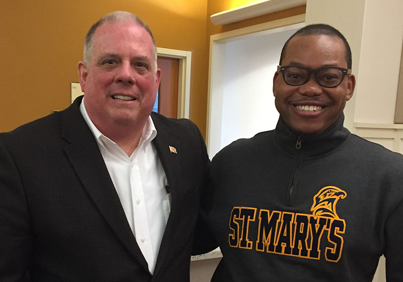 Cody Dorsey greeted Maryland Governor Lawrence J. Hogan, Jr. on March 28th during Governor's visited to SMCM. to celebrate the 350th anniversary of the signing of the Articles of Peace and Amity at St. Mary's City. Governor Hogan is the second Republican Governor in Maryland in nearly 50 years.
