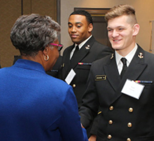 Dr. Jordan greeting Naval Academy Students