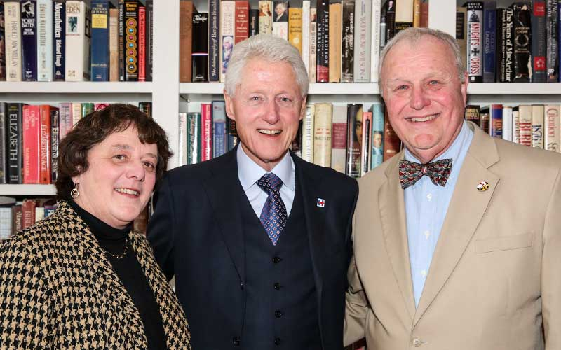 President Clinton with long-time supporters of the Center, Dr. Helen Daugherty, Professor of Sociology and the G. Thomas and Martha Meyers Yeager Chair in the Liberal Arts at SMCM and Thomas Daugherty, SMCM Trustee emeritus, SMCM class of 1965, and current member of the Board of Directors of the SMCM Foundation.  Dr. Daugherty chaired the committee that was responsible for founding the Center in 1999 and she has served as its Advisor ever since.  The Center thanks Helen and Tom for their support and annual donations to the Center.