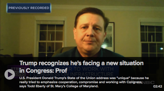 Dr. Todd Eberly on CNBC discusses the State of the Union Address Feb. 6, 2019