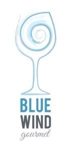 Blue Wind Gourmet logo with wine glass