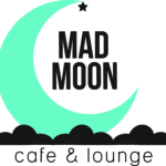 Mad Moon cafe & lounge logo with moon, stars, and clouds