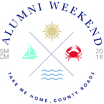 "Full color version of 2019 Alumni Weekend logo featuring sun, sailboat, crab, and water with the slogan, ""Take Me Home, County Roads"""