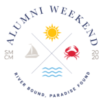SMCM Alumni Weekend 2020 Logo River Bound, Paradise Found featuring sun, sailboat, crab, and water symbols