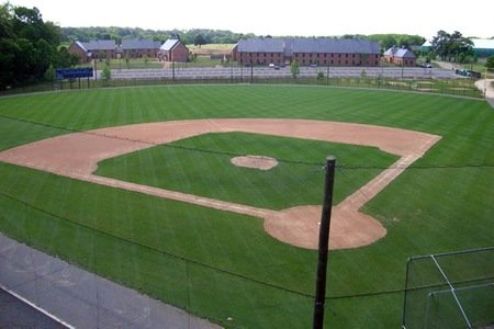 An aerial view of an empty baseball field