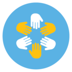 How we got here hands-in circle icon