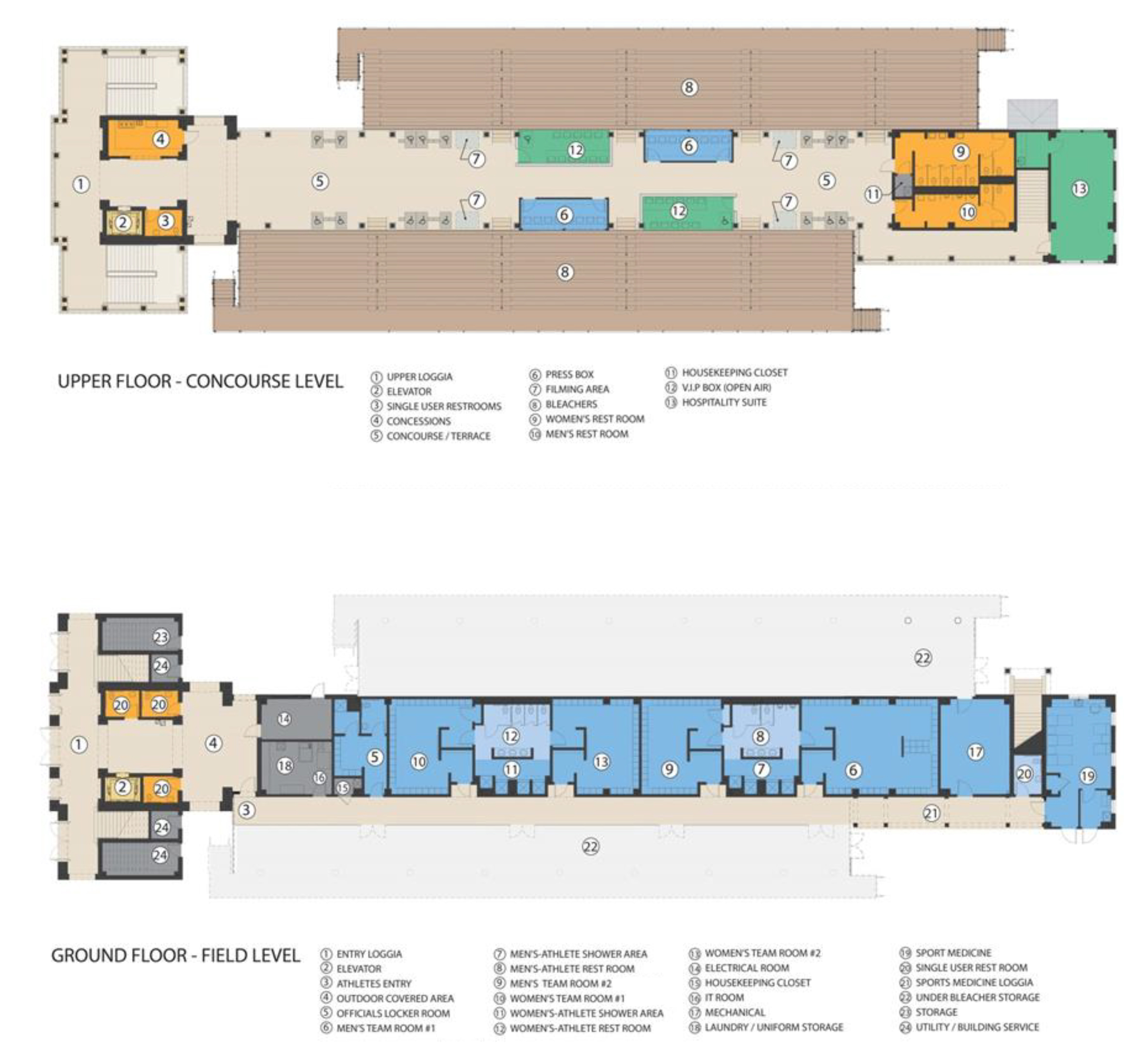 The Upper Floor Concourse Level and Ground Floor Field Level floor plans of the Jamie L Roberts Stadium