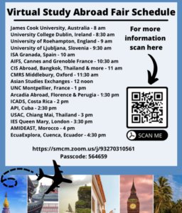 Link to Virtual Study Abroad Fair September 23rd