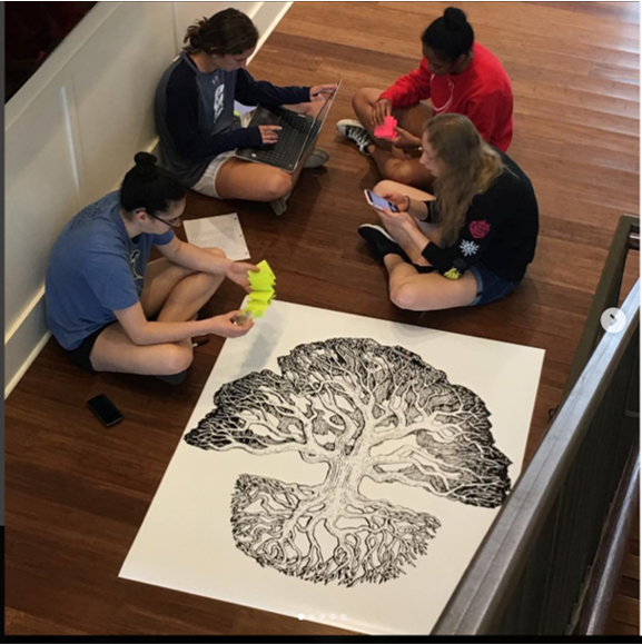 Students work together on exhibit