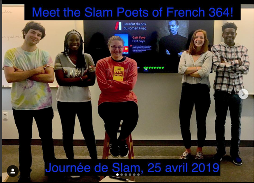 French students pose for photo, Text Overlay: Meet the Slam Poets of French 364, Journee de Slam, 25 avril 2019