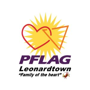 Logo image of a heart and triangle together with a sun in the background that reads PFLAG