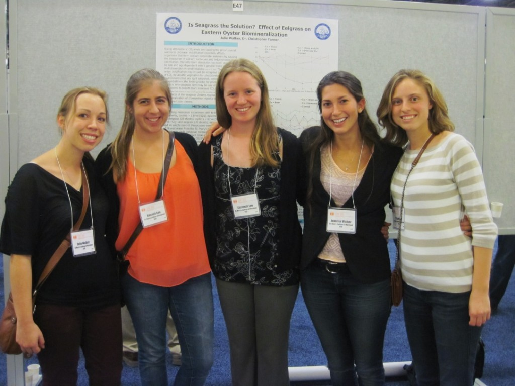 Current St. Mary's students and alumni at the International CERF meeting in San Diego. L to R: Julie Walker '13, Hannah Coe '13, Liz Lee '13, J.J. Walker '14, and Kristin Hay'13.