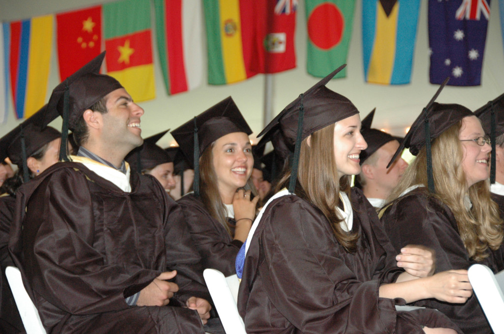 St. Mary's College of Maryland seniors listen to a speech during graduation Saturday. (Photo by Lee Capristo)