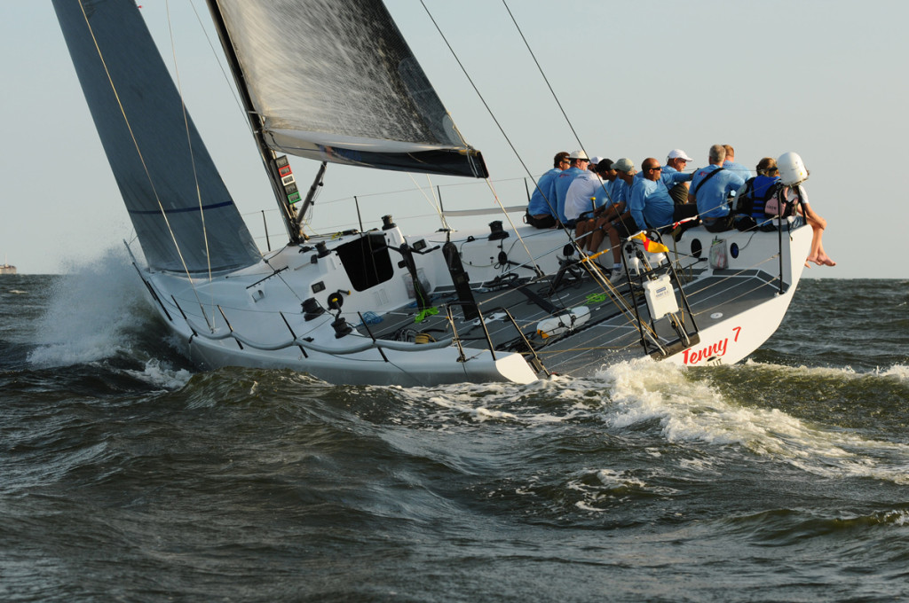 The Flying Jenny 7, skippered by David Askew, plies the bay during the 2011 Governor's Cup Yacht Race. Photo by Allen Clark/PhotoBoat.com.