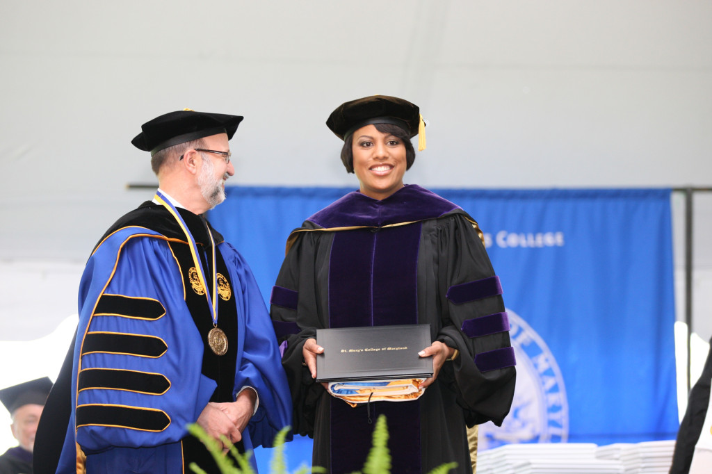 St. Mary's College of Maryland President Joe Urgo and Commencement speaker Stephanie Rawlings-Blake, mayor of Baltimore at Saturday's ceremony on the college campus (photo by Bill Wood).