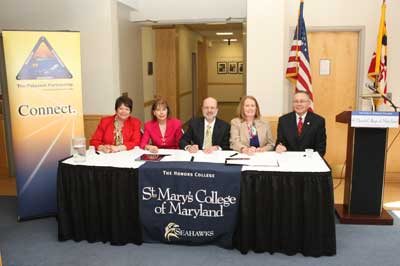 Pictured from left to right are Dr. Maureen Silva, Vice President for Advancement, St. Mary's College of Maryland (SMCM); Bonnie Green, Director, The Patuxent Partnership (TPP); Dr. Joseph Urgo, College President, SMCM; Karen Garner, President, TPP Board of Directors; and Dr. Ed Barrett, Vice President, TPP Board of Directors.
