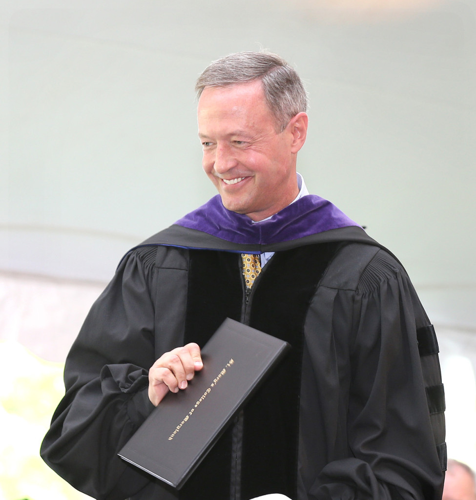 The Commencement address was delivered by Maryland Governor Martin O'Malley (photo by Bill Wood).