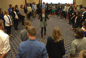 Rachel Carson Council staffer Zoe Ackerman leads an interactive political-participatory theatre workshop at the Power Dialog in Maryland.