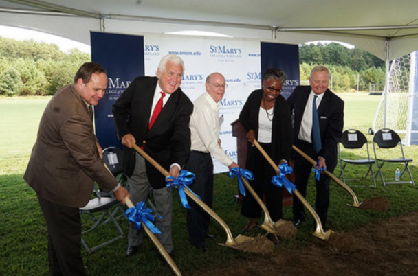 (L-R) Senator Steve Waugh; Senate President Mike Miller; Bob Roberts; Dr. Tuajuanda C. Jordan, president of St. Mary's College of Maryland; Chairman of the Board of Trustees Sven Holms