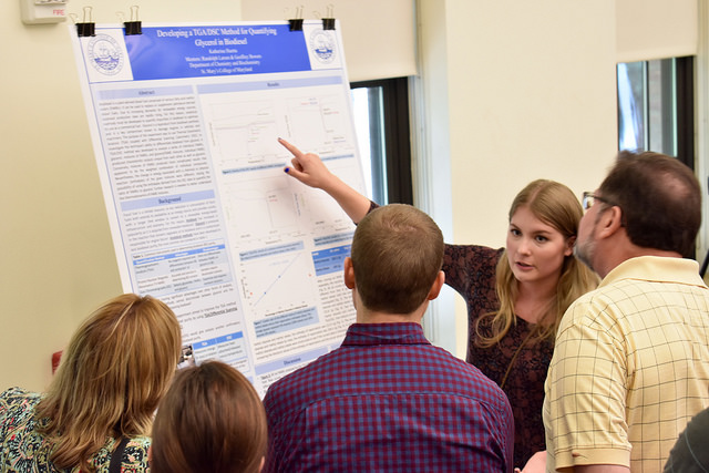 a student researcher presents her project for faculty and others at SURF symposium