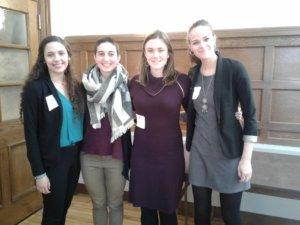 Pictured (L-R) Abigail Rose '20, Caitlin Schoen '18, Megan Root'19, Sara Casper-Woodhead '19