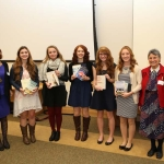 The 18th Annual PBK Book Award Ceremony was held on November 12, 2015. Pictured from left to right are: Angela Draheim (PBK chapter president), Cristalyn Doig (King's Christian Academy), Victoria Tacquard (Great Mills), Alexis Spiotta (Chopticon), Casey Bacon (Leonardtown), Grace Goodley (St. Mary's Ryken), Laraine Glidden (PBK book award coordinator). Photo by Bill Wood.