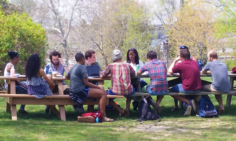 Professor Anderson's philosophy seminar on race couldn't resist the lure of spring weather.