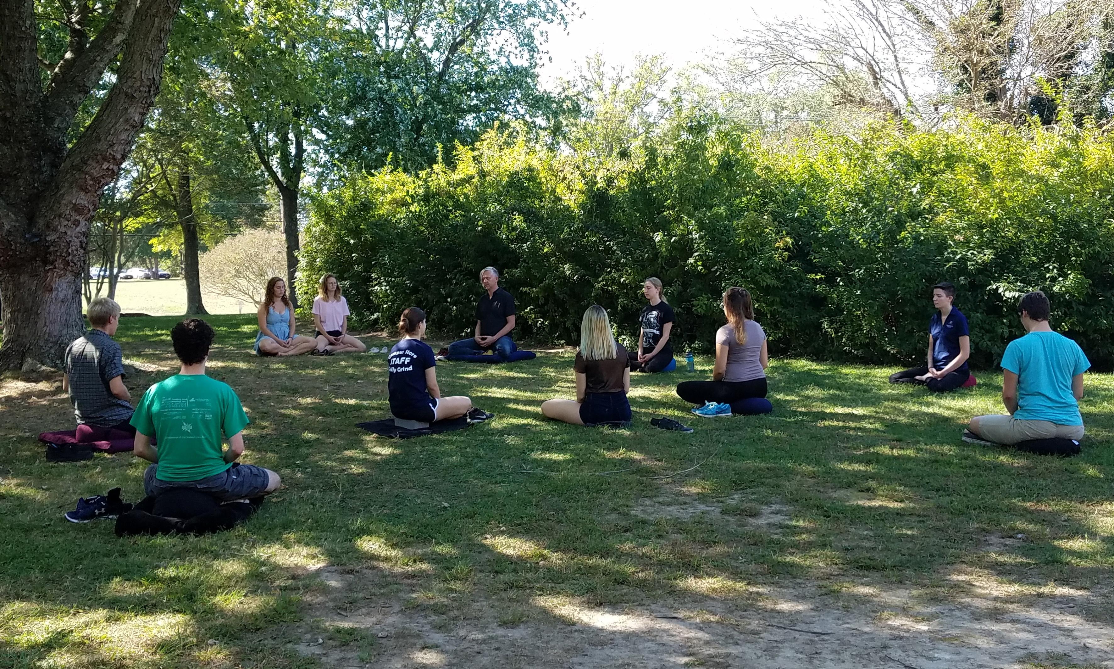 Students meditating outside
