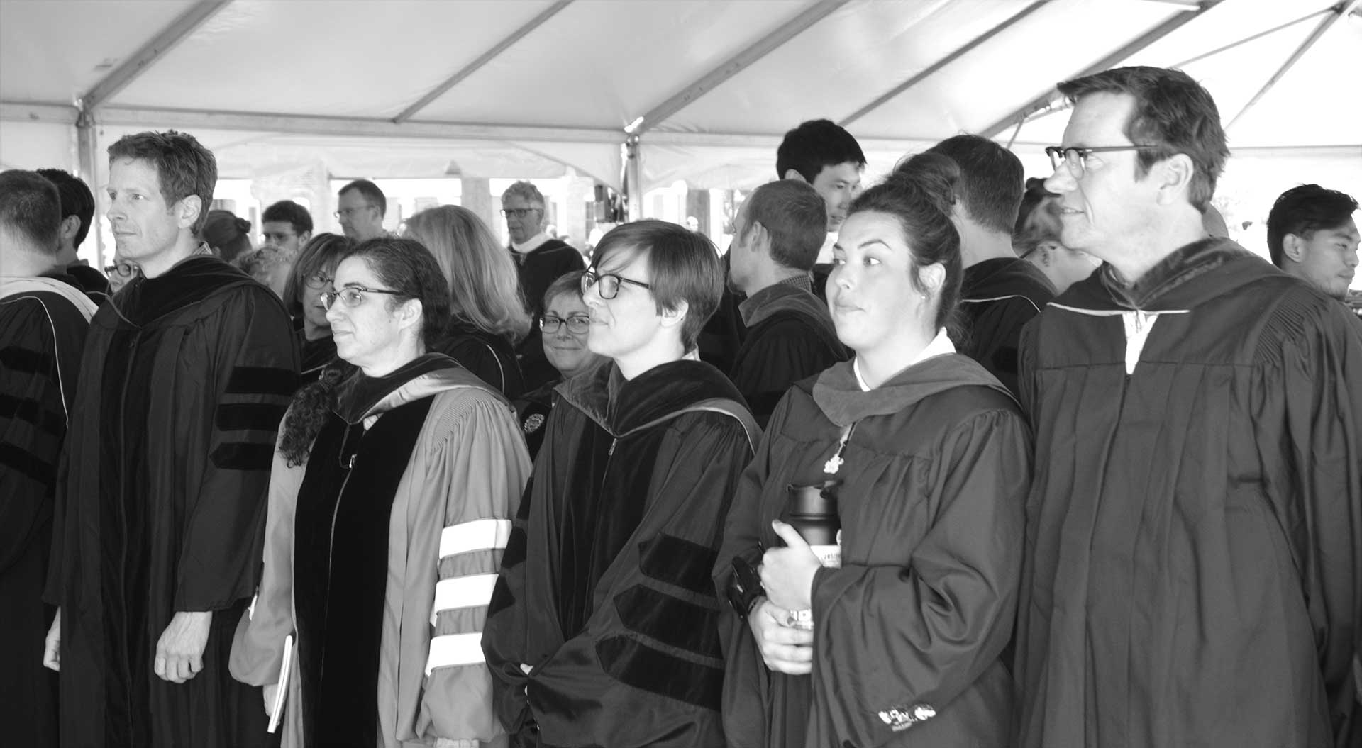 SMCM 2018 Convocation, Faculty under the tent, Photo by Richard-Brewer